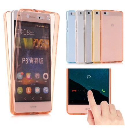 Huawei P9 - Dubbelsidigt Silikonfodral med TOUCHFUNKTION